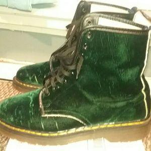 Vintage Green Velvet Dr Martens Boots